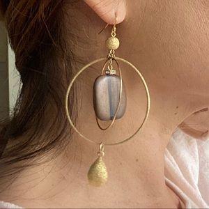 Gold Double Hoop Stone Drop Earrings